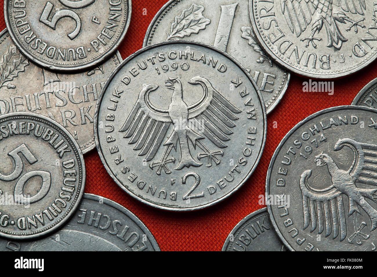 Münzen Aus Deutschland Bundesadler Im Deutschen Zwei Deutsche Mark