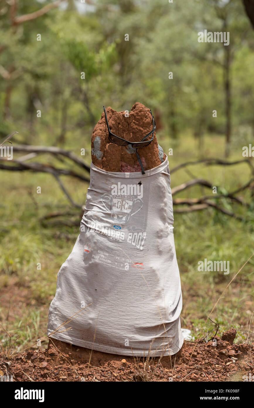 Termite Mound gekleidet in T-shirt und Schattierungen im Northern Territory. Stockbild