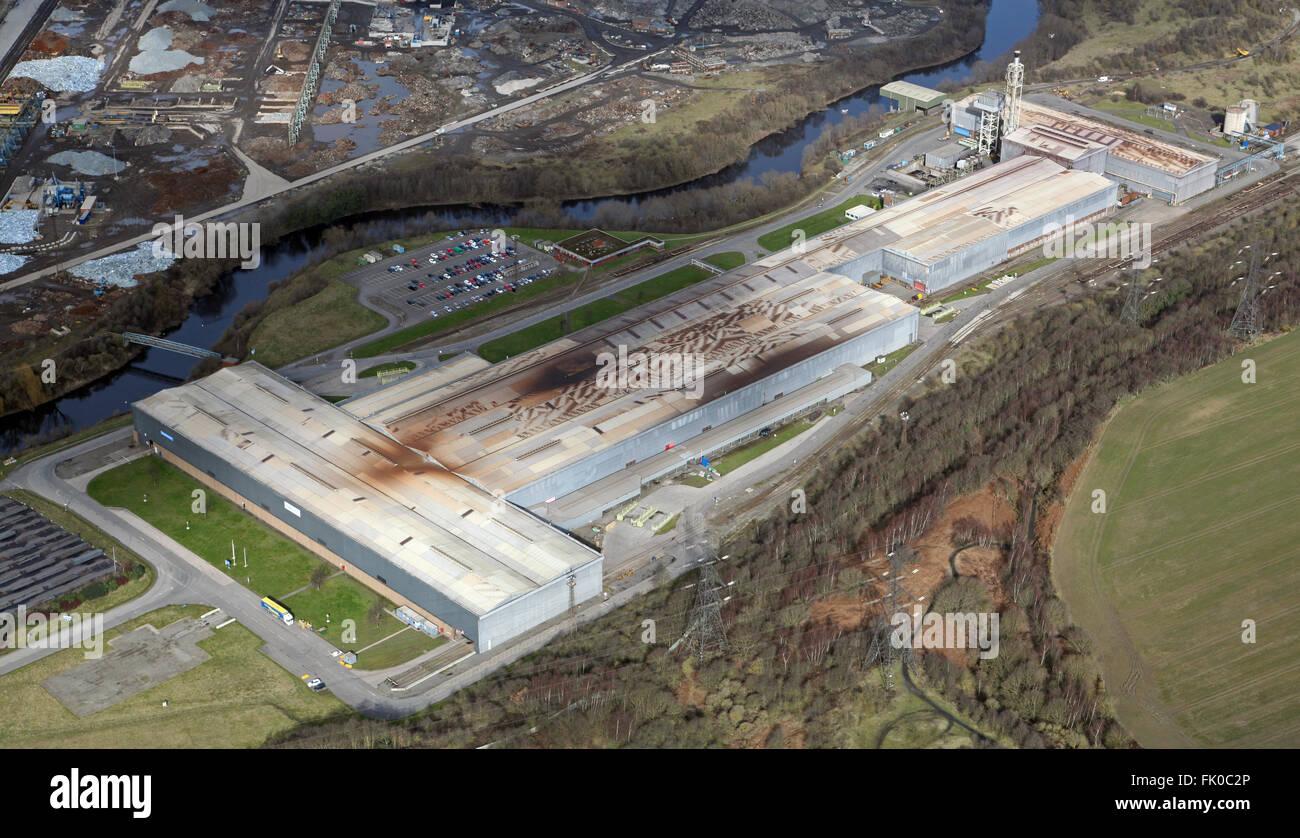 Luftaufnahme des Teils des Tata Steel Produktionskomplexes in Rawmarsh in der Nähe von Rotherham, South Yorkshire, Stockbild