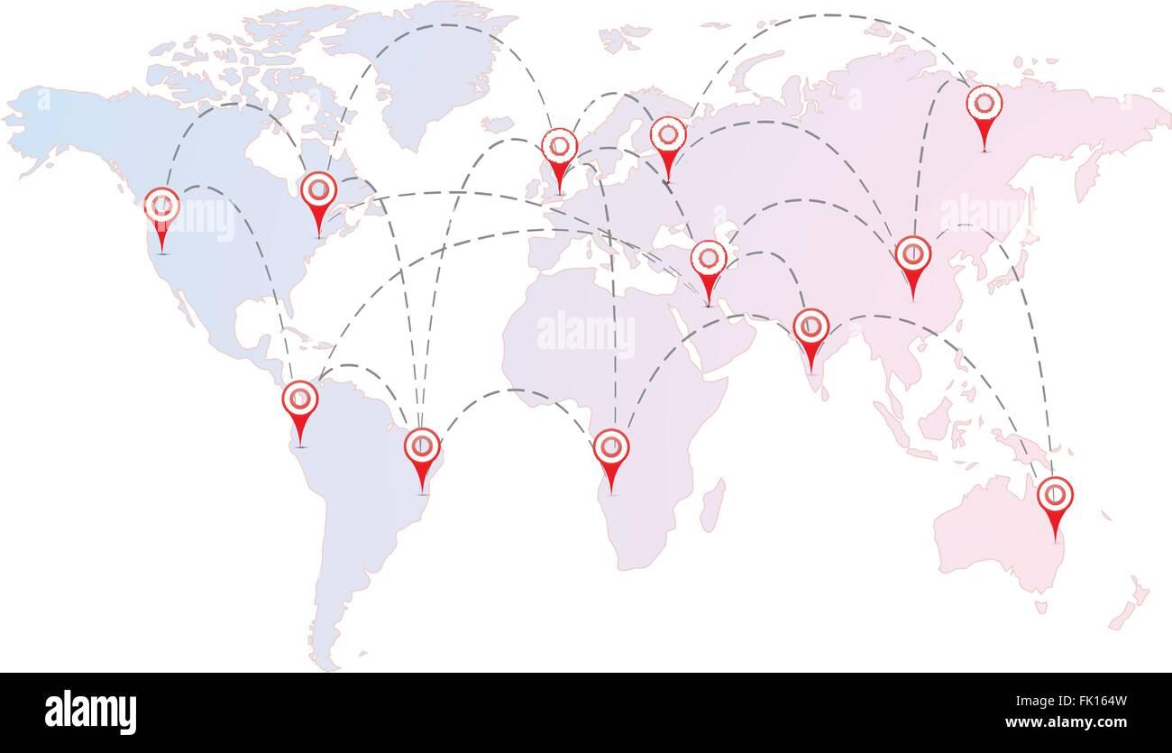 Wunderbar Weltkarte Mit Städten Sammlung Von Flugverbindungen Zwischen Den Städten Roten Pins Auf