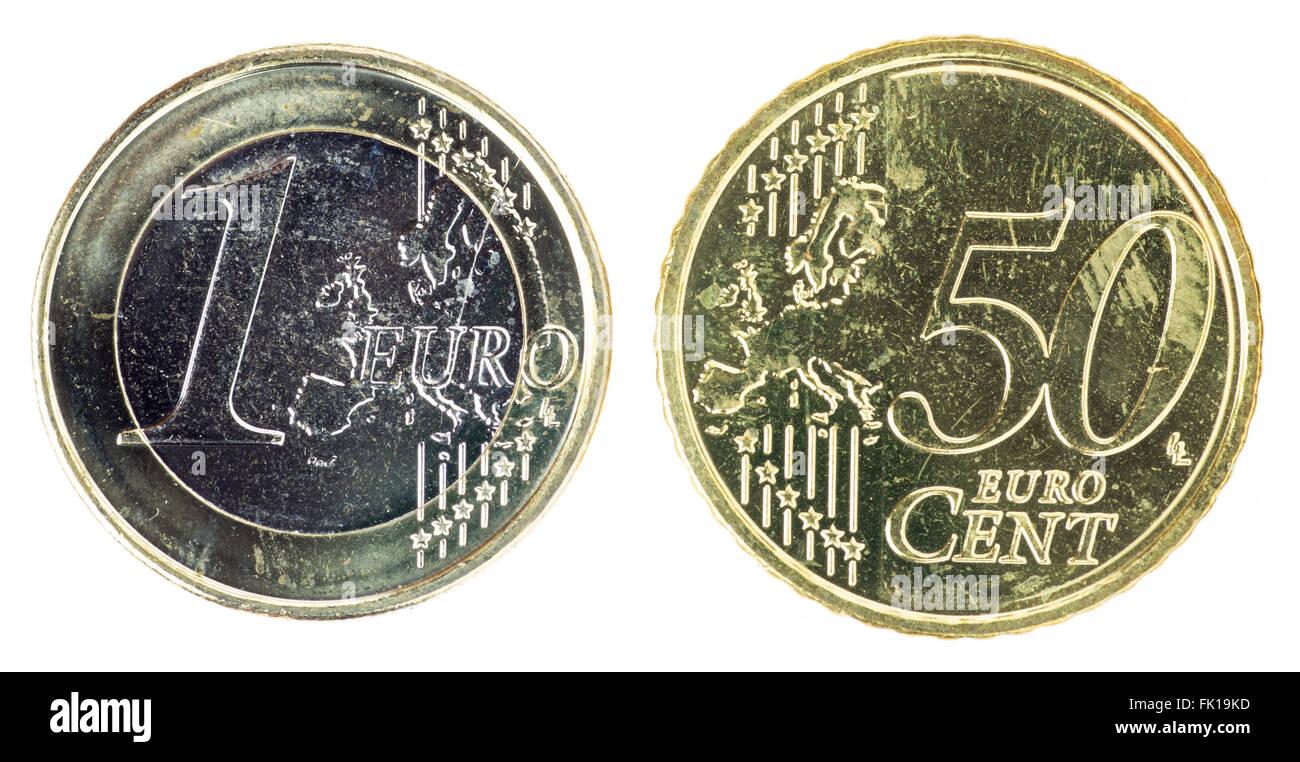 Einen Euro Und 50 Cent Münze Stockfoto Bild 97759857 Alamy
