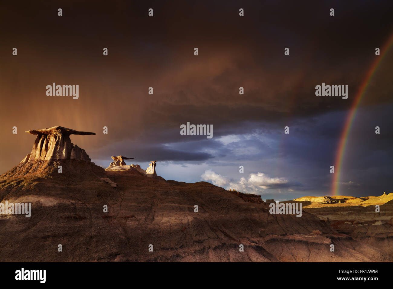 Die Flügel, bizarren Felsformationen in Bisti Badlands, New Mexico, USA Stockfoto