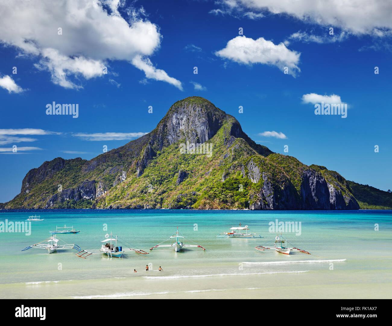 El Nido Bay und Cadlao Island, Palawan, Philippinen Stockbild