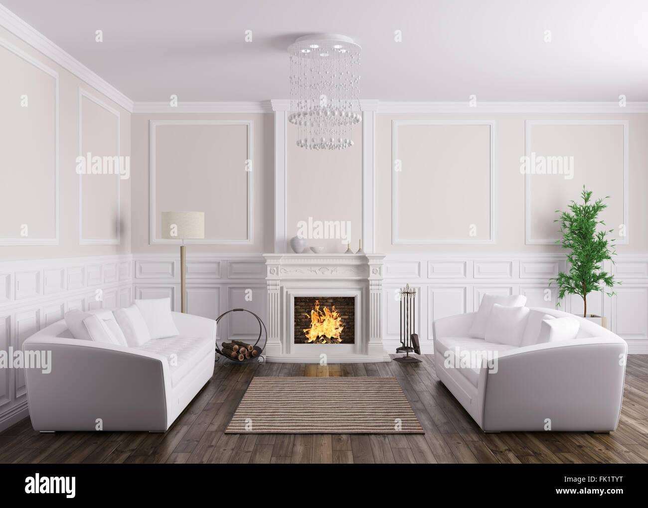 Klassische Einrichtung von Wohnzimmer mit zwei weißen Sofas ...