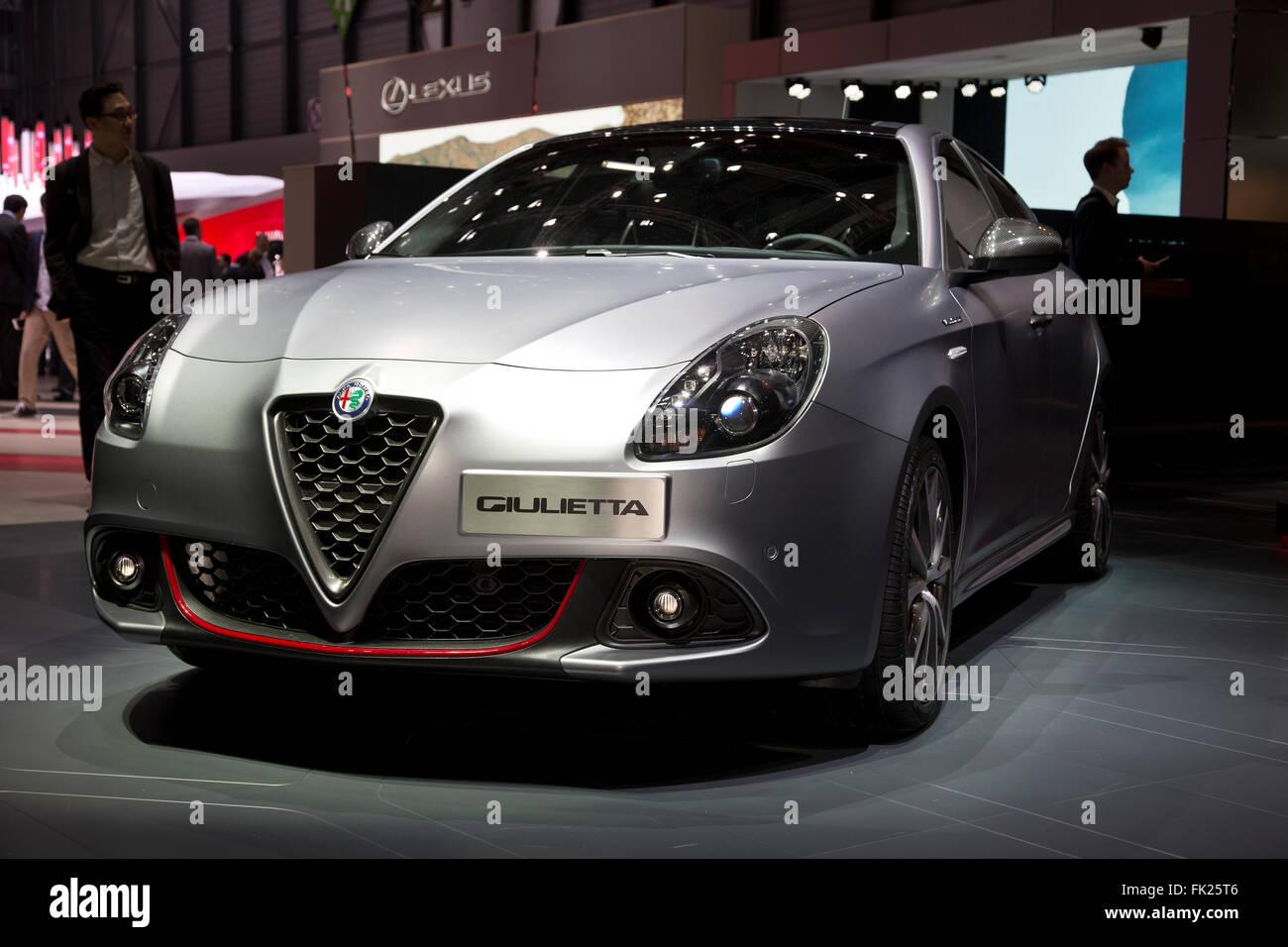 Alfa Romeo Giulietta auf dem Genfer Autosalon 2016 Stockbild