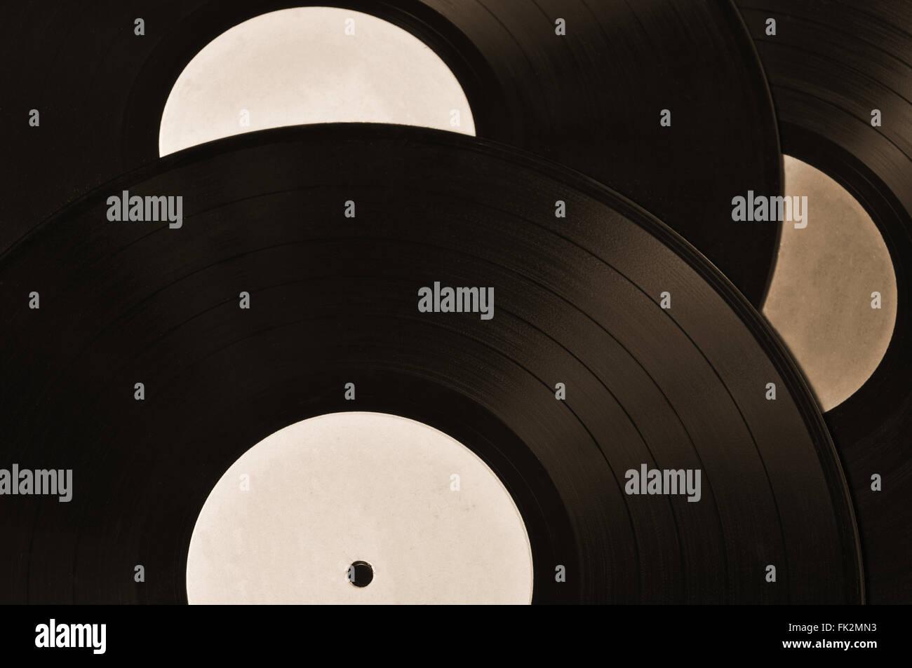 Sammlung von Schallplatten. Vintage und Retro Hintergrund Sepia Themen Stockfoto