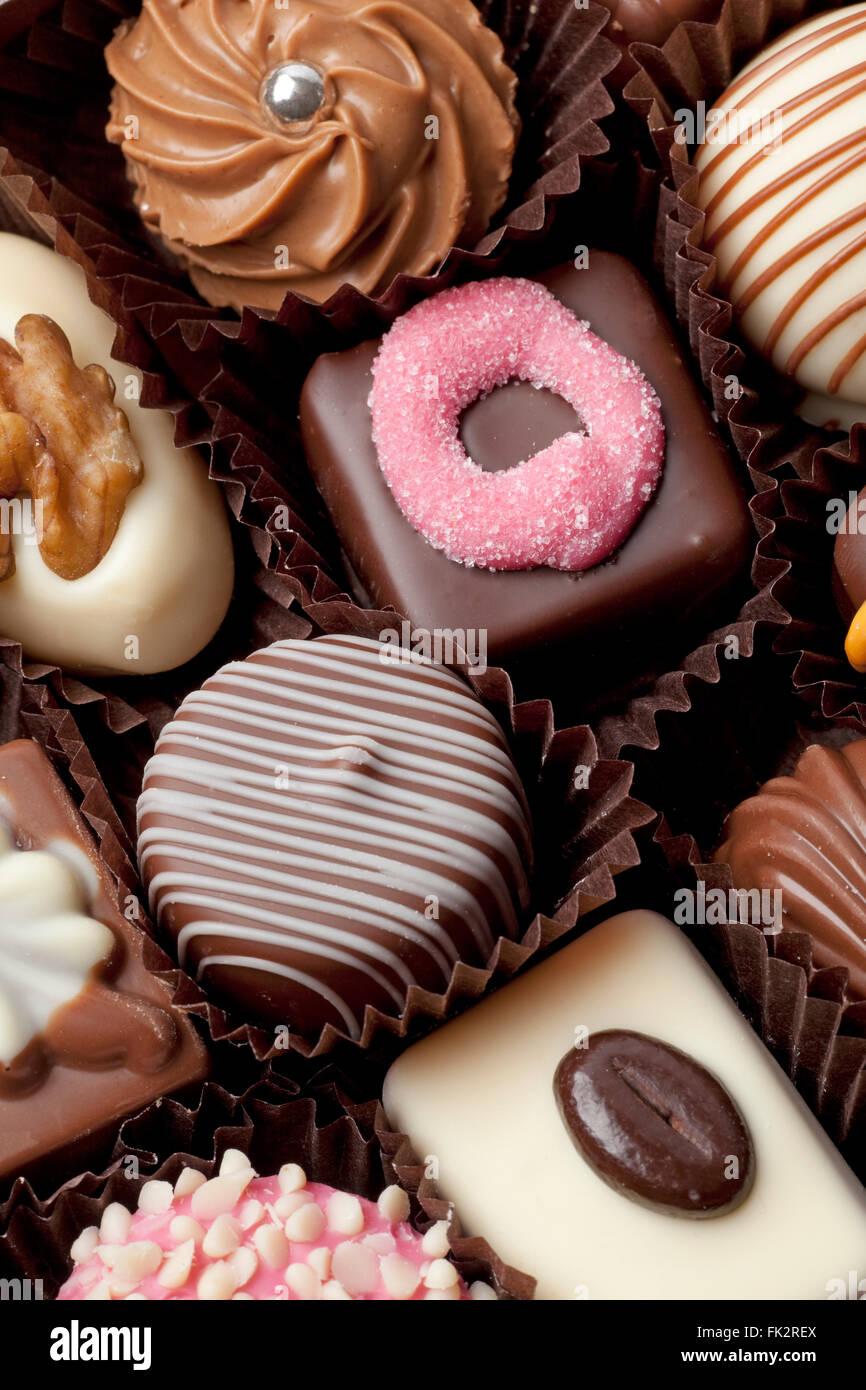 Vielzahl von full-Frame-Schokoladenbonbons Stockbild