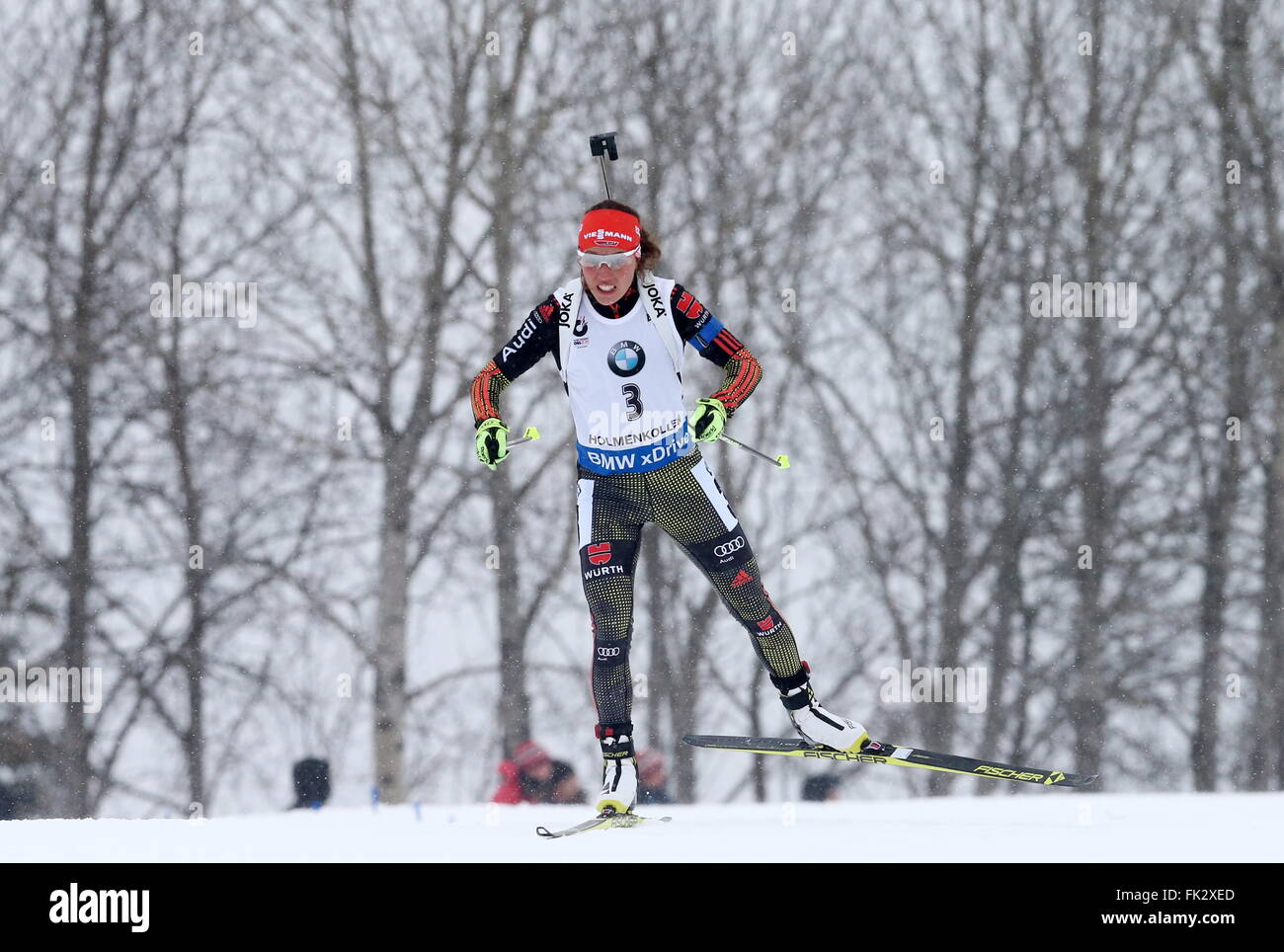 OSLO, NORWEGEN. 6. MÄRZ 2016. Biathlet Laura Dahlmeier Deutschland konkurriert, die Frauen 10 km Verfolgungsrennen Stockfoto