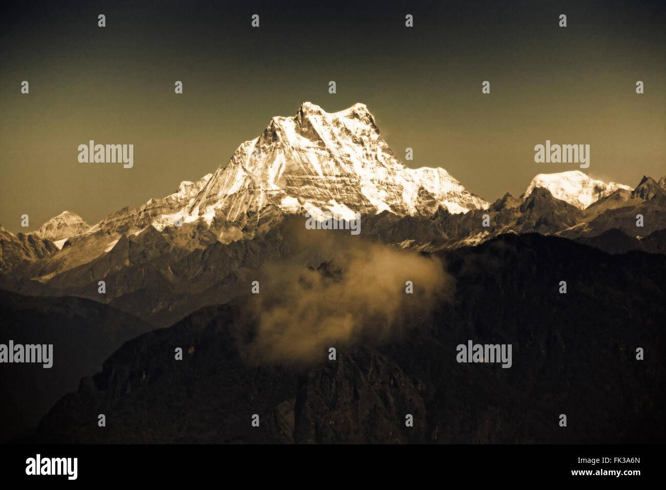 Frauengeschichten Bande bei 7.194 Metern im östlichen Himalaya. Bhutan. Stockfoto