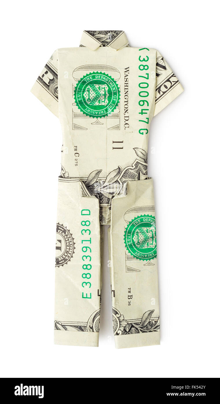 Dollar origami shirt and tie isolated on white background ... | 1390x760
