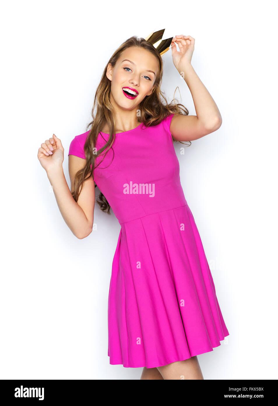 Teen Girl Smiling Prom Dress Stockfotos & Teen Girl Smiling Prom ...
