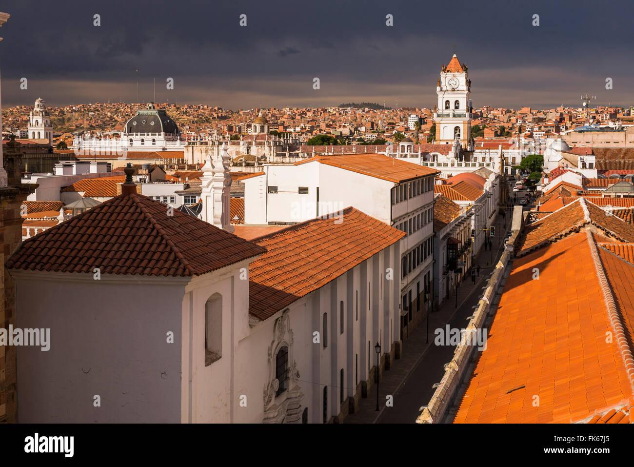 Historische Stadt von Sucre, gesehen von der Iglesia Nuestra Senora De La Merced (Kirche der Muttergottes der Barmherzigkeit), Stockbild