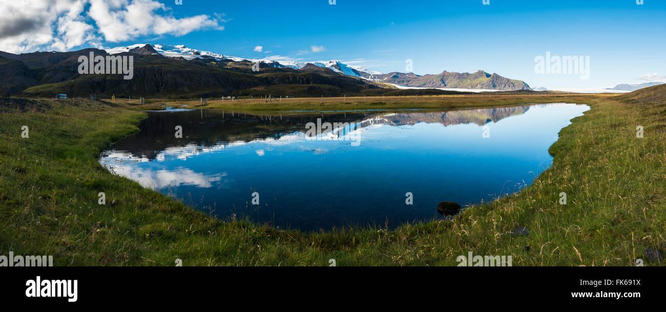 Vatnajökull-Eiskappe Reflexion, in der Nähe von Skaftafell in den Polargebieten Vatnajökull-Nationalpark, Stockbild