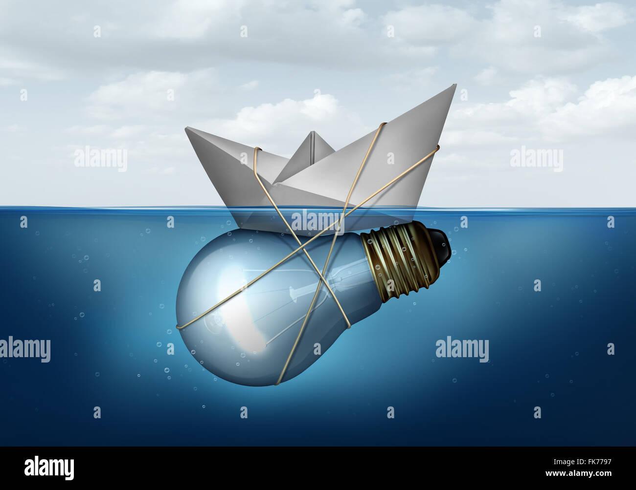 Innovative Businesslösung und kreatives Konzept als ein Papierschiff gebunden an eine Glühlampe oder Glühbirne Objekt als Erfolg Metapher für intelligente unternehmerisches Denken lösen Wirtschafts- und Transport-Herausforderungen. Stockfoto