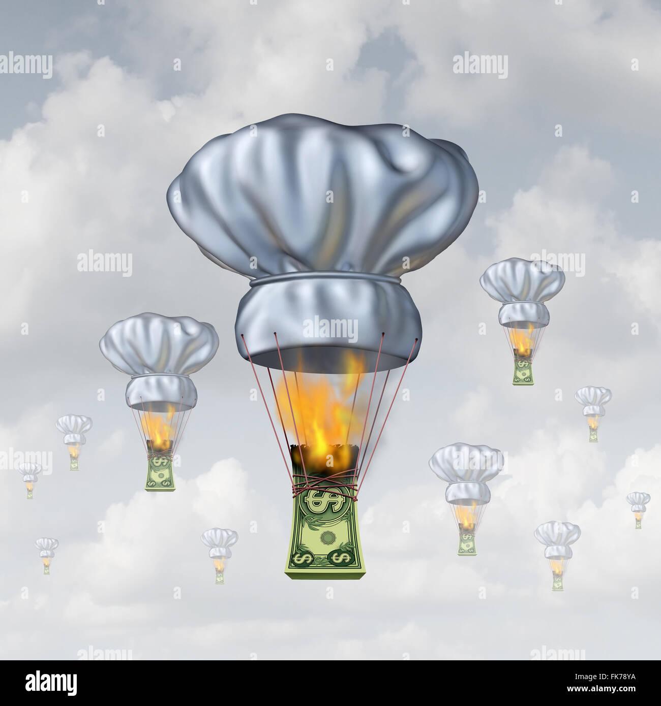 Restaurant Speisen Kosten und steigende Preise Essenskonzept als einen Stapel von Geld verbrennen, hob einen Koch Stockfoto