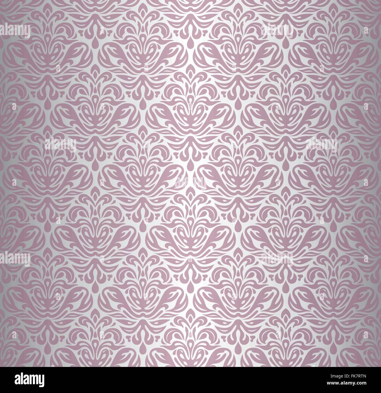 Berühmt Rosa & Silber Renaissance Muster dekorative Vintage Tapete Vektor MZ49