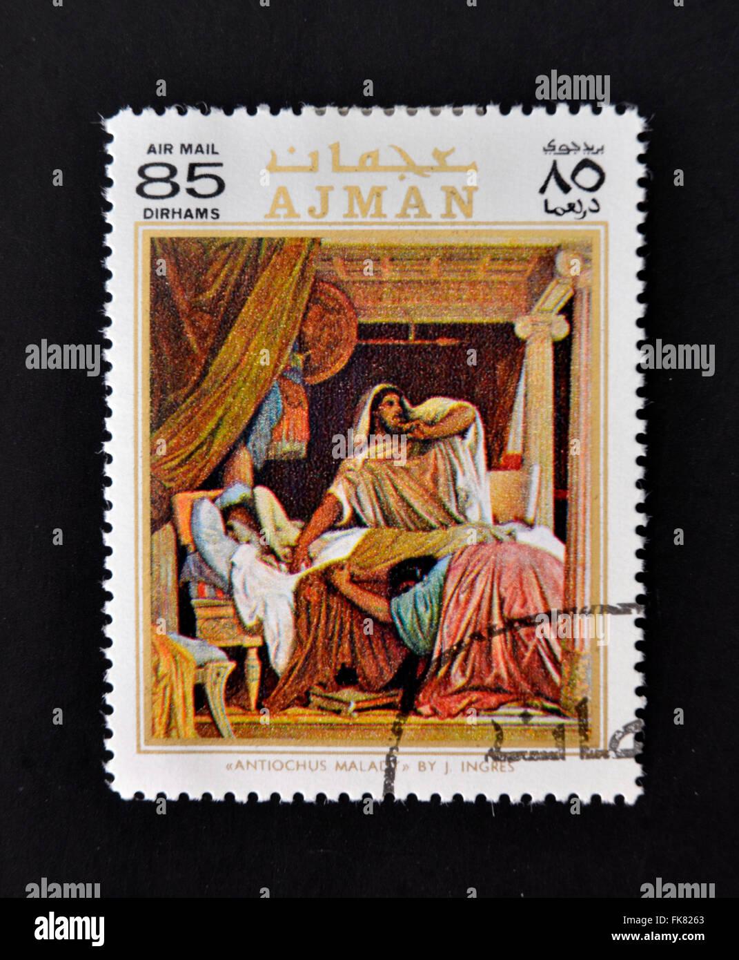AJMAN - CIRCA 1970: Eine Briefmarke gedruckt in Ajman zeigt Antiochus Krankheit von Ingres, ca. 1970 Stockbild