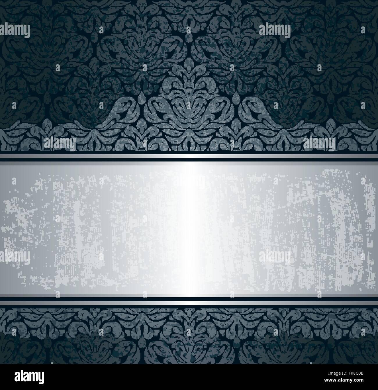 Schwarzen Silber Luxus Vintage Tapete Retro Hintergrundmuster