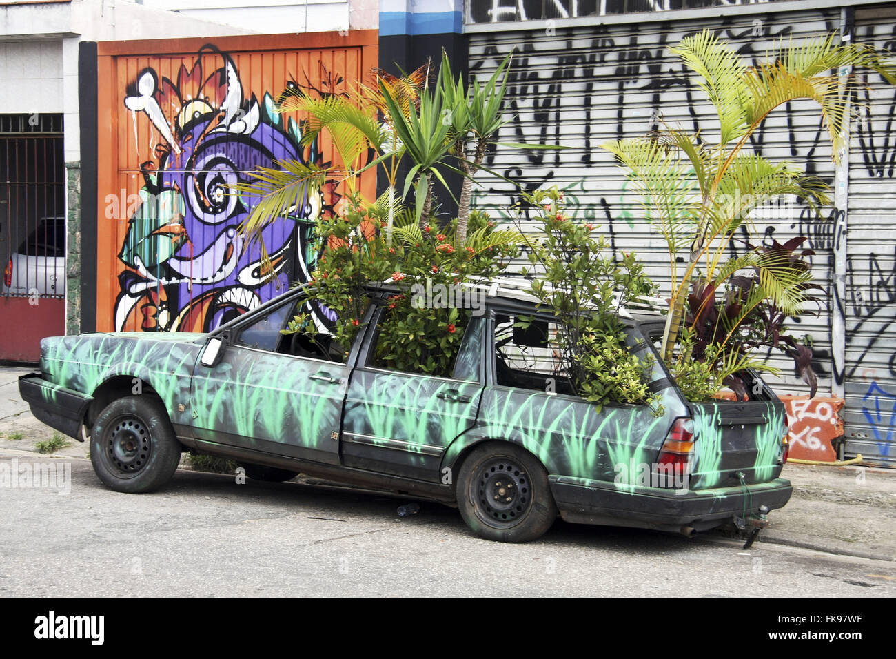 Kunst-Installation - Green Car - ausgesetzt auf der Straße Padre Joao Goncalves - Nachbarschaft von Vila Madalena Stockbild