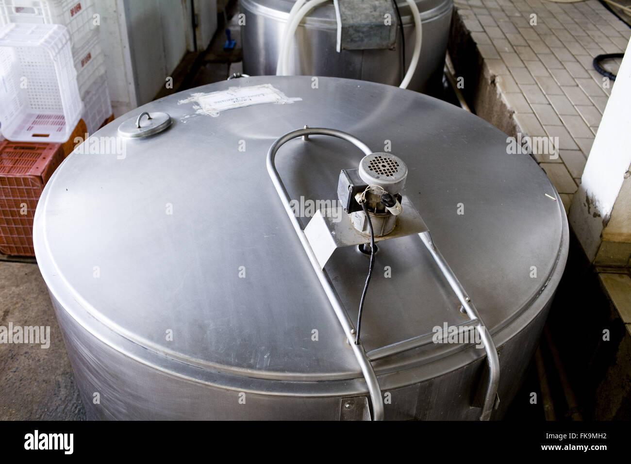 Milchprodukte - Käse Produktion Bufala in ländlichen Gemeinde Stockbild