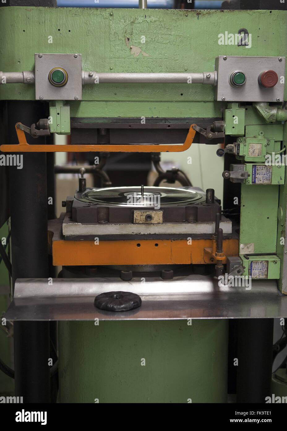 Vinyl-Plattenproduktion - Hersteller des Landes zuletzt Stockbild