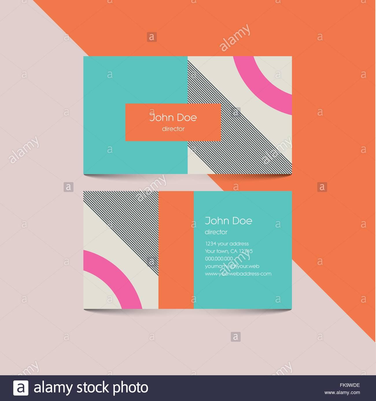 Material Design Visitenkarten Vorlage Mit 80er Style