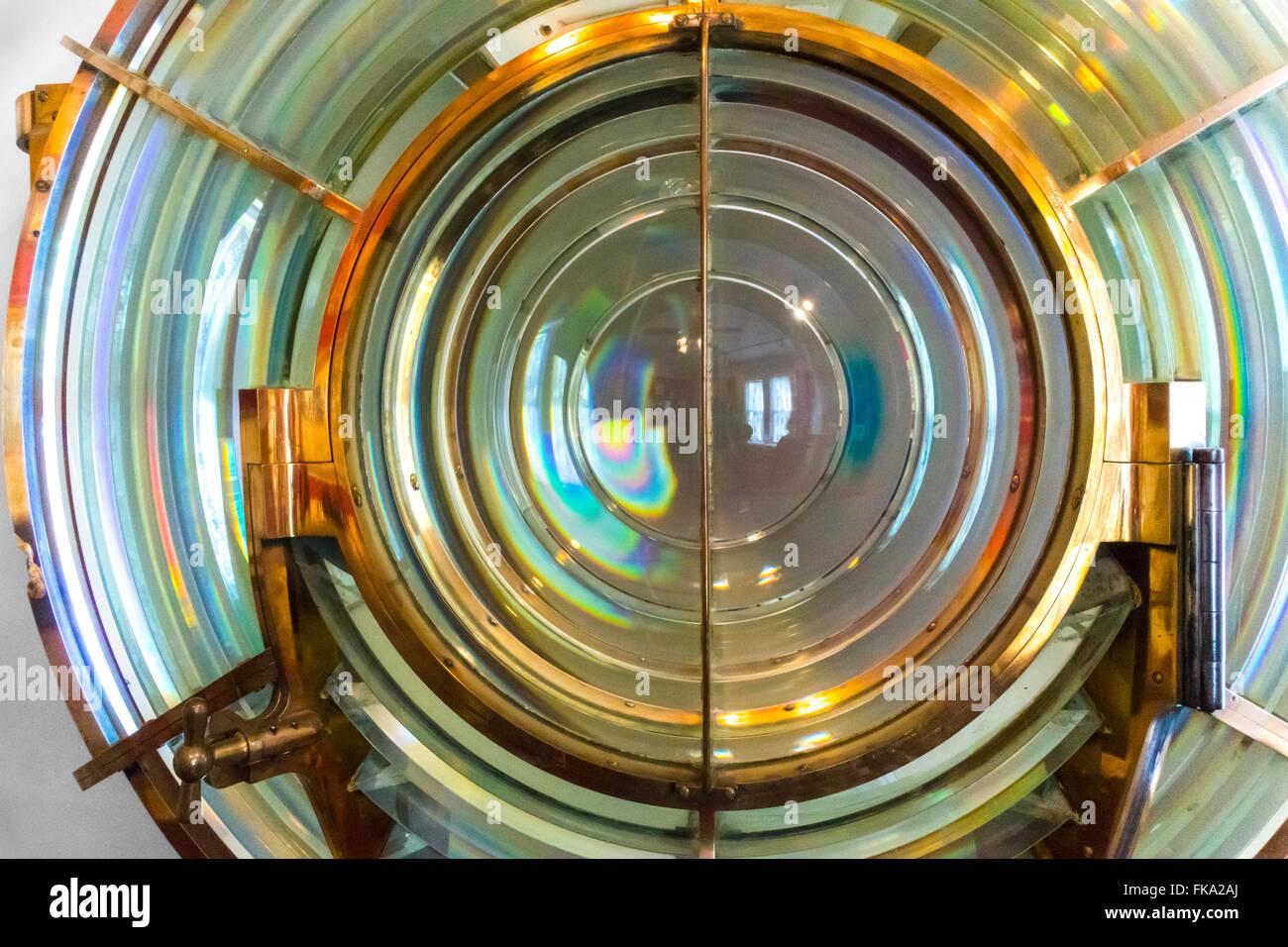 Fresnel-Linse von Marblehead Leuchtturm auf dem Eriesee Ohio. Linse des Ordens 3-1/2. Stockbild