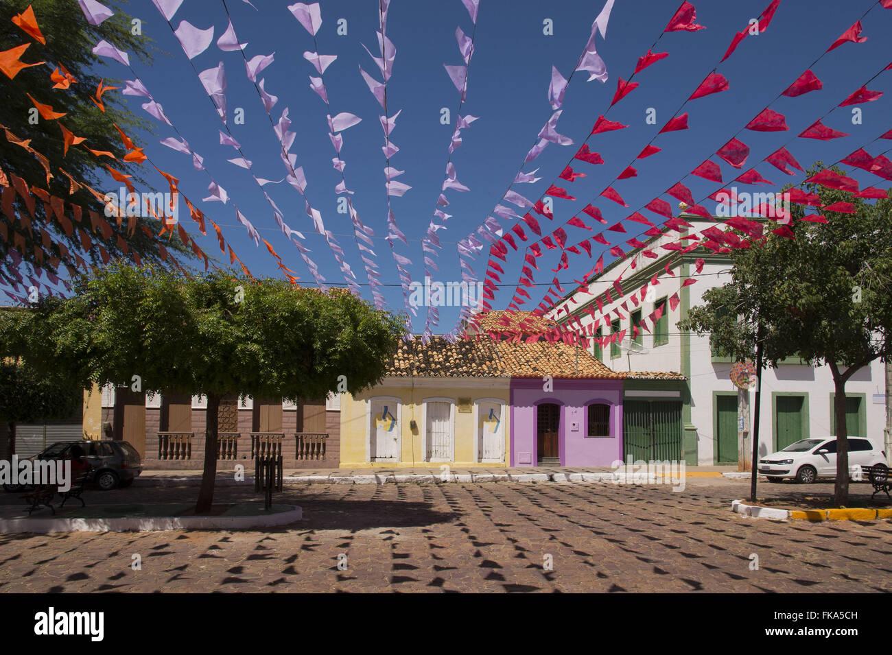 Schmücken die Straßen für das Fest des Heiligen Antonius Stockbild