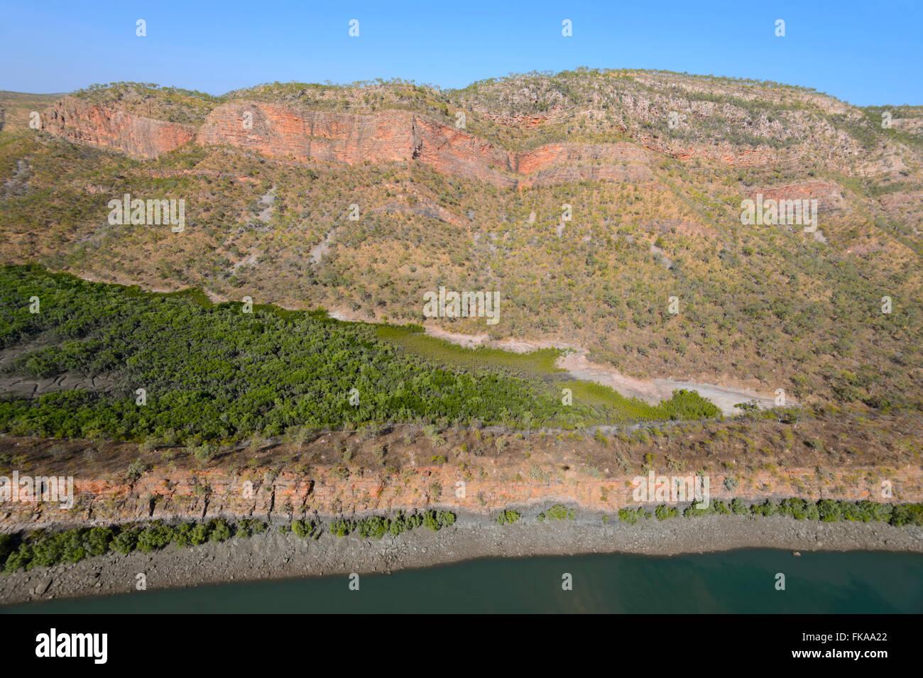 Luftaufnahme des Buccaneer Archipels, in der Nähe der horizontalen Fälle, die Kimberley Region, Western Stockbild