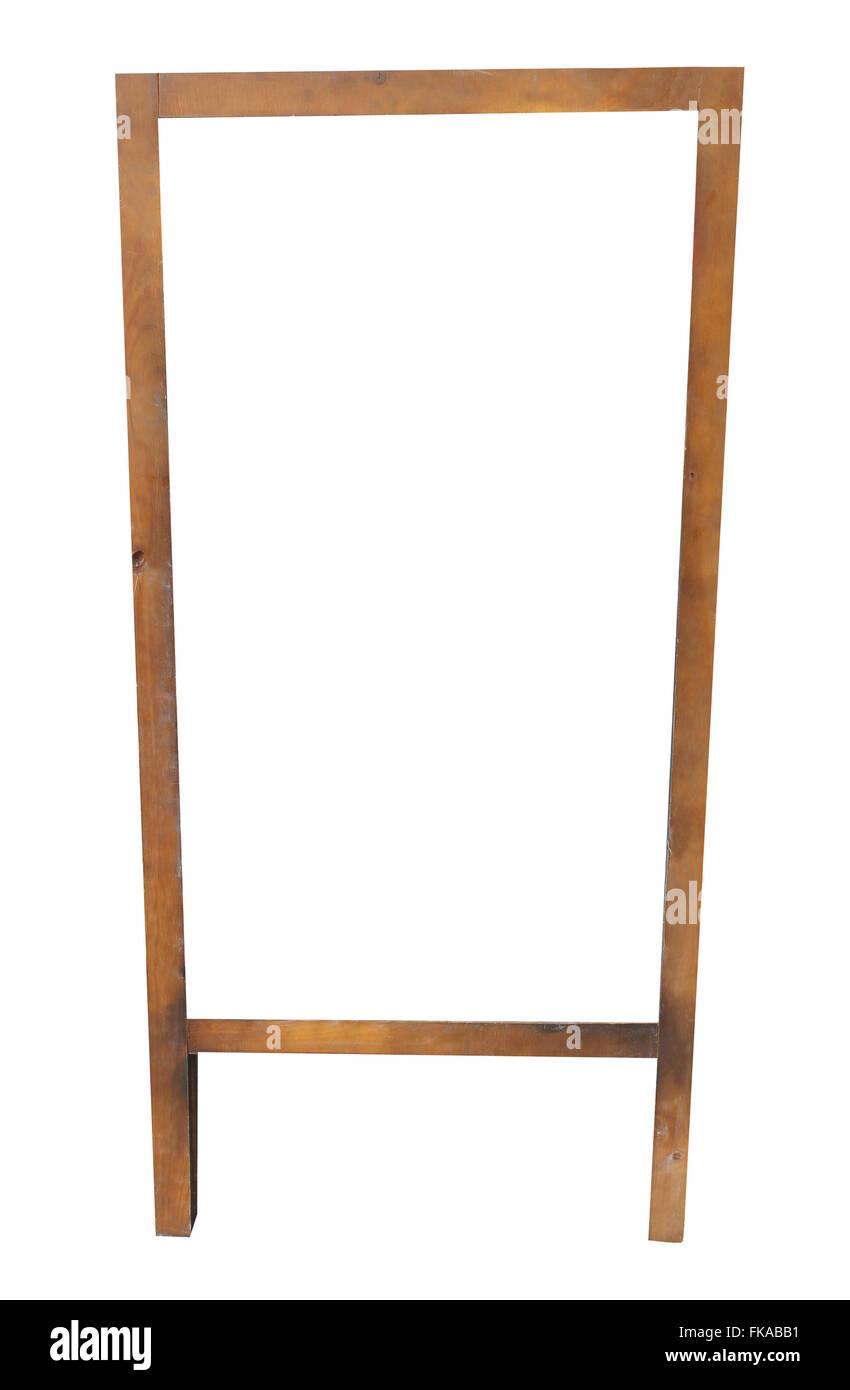 Leere hölzerne Tafel Rahmen isoliert auf einem weißen Hintergrund. Stockbild