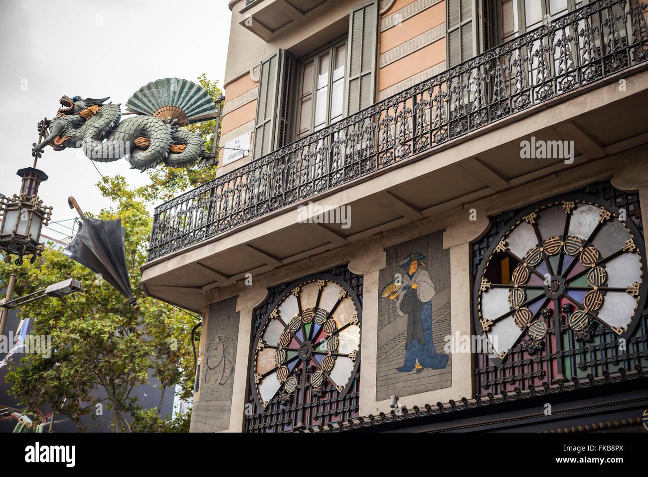 Casa Bruno Cuadros, La Rambla. Barcelona. Stockbild