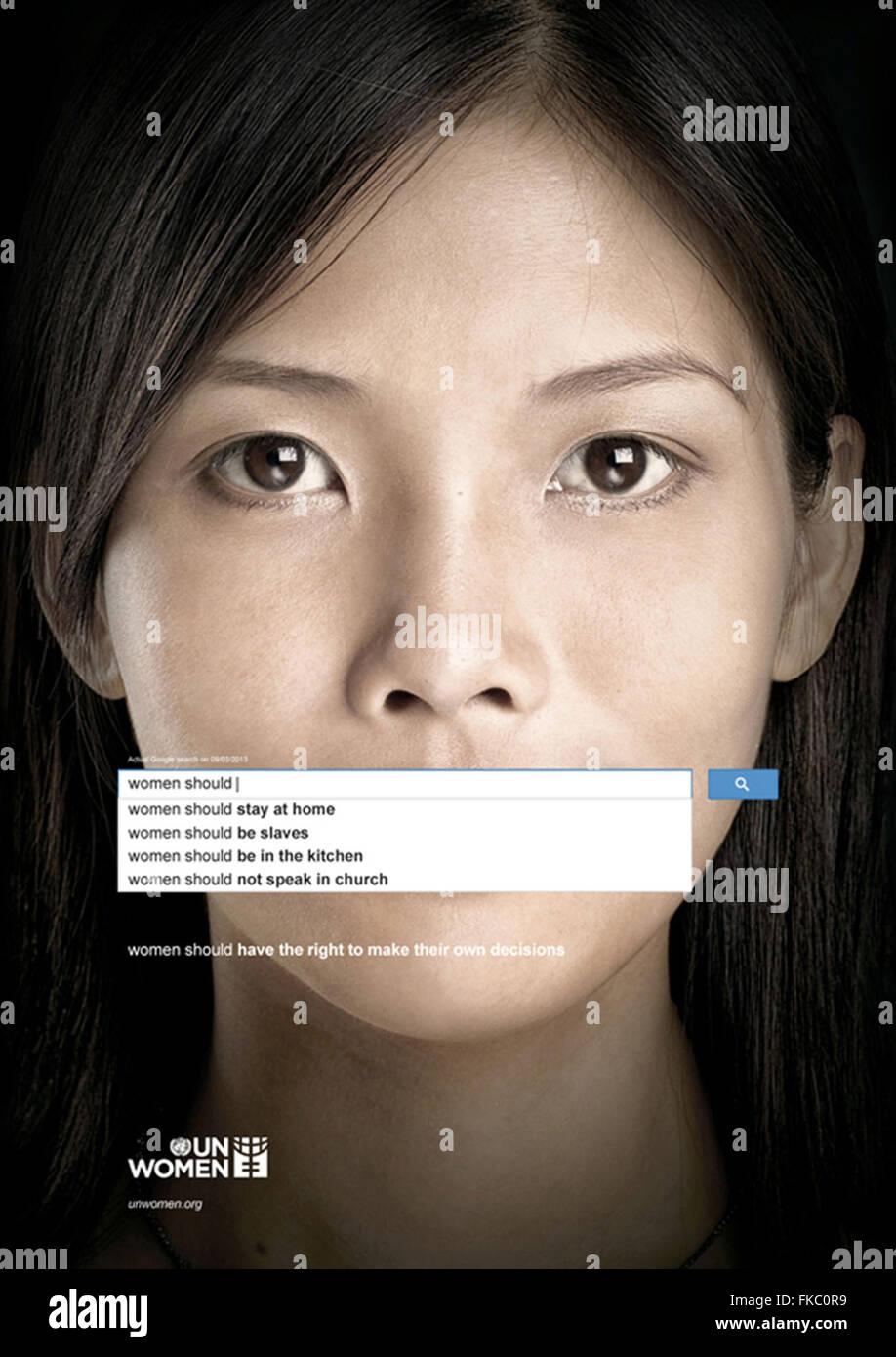 2010er Jahre UK UN Women Magazin Anzeige Stockbild