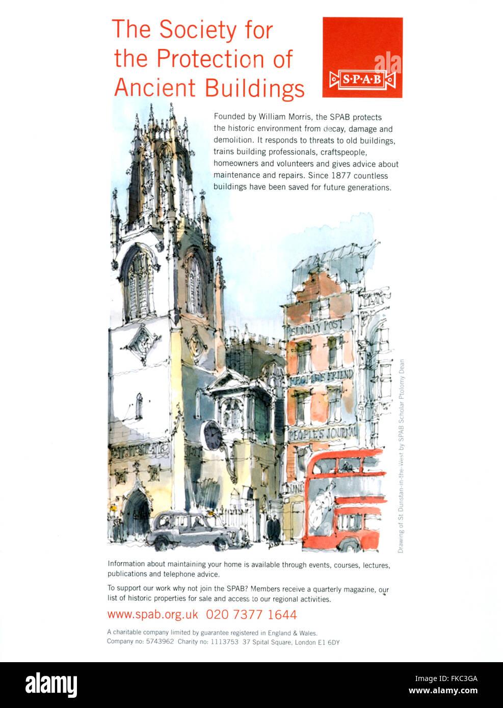 2010er Jahre UK-Gesellschaft für den Schutz der alten Gebäude Magazin Anzeige Stockbild