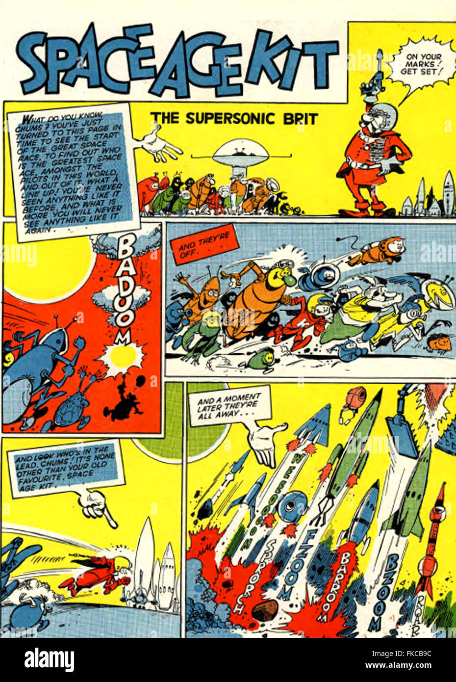 UK Space Age Kit Comic-Cover Stockbild
