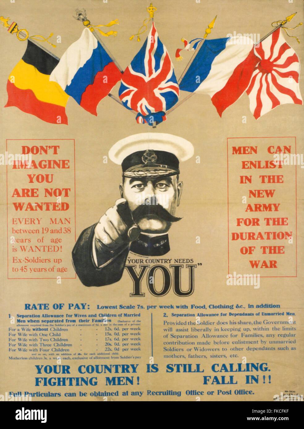 1910er Jahre UK Ihr Land braucht Sie Poster Stockbild