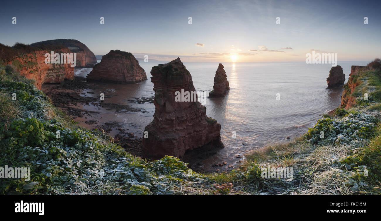 Ladram Bay, Sonnenaufgang. Juraküste Welterbe-Aufstellungsort. Devon. VEREINIGTES KÖNIGREICH. Stockbild