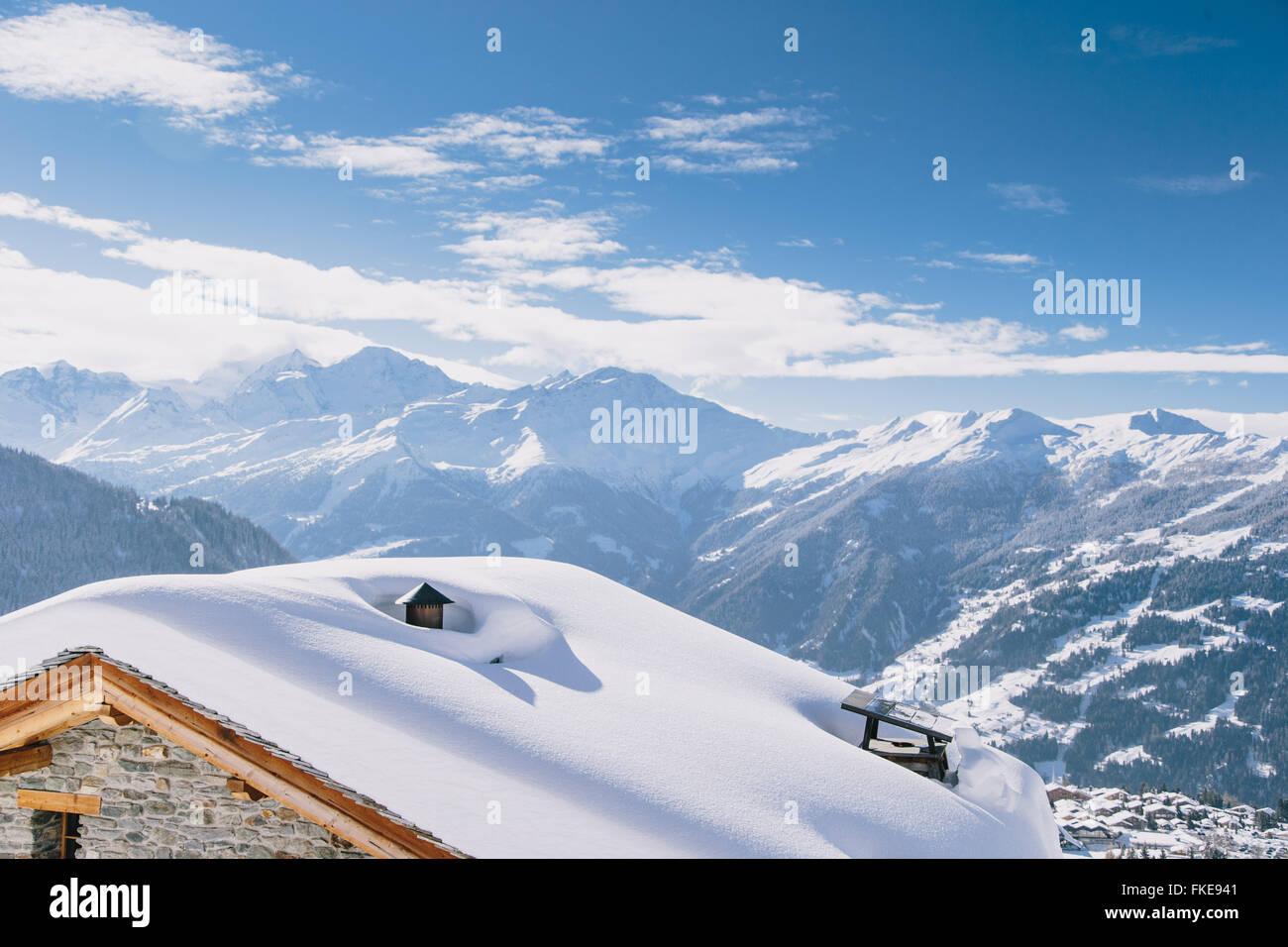 Ein Blick auf das Schweizer Skigebiet Verbier. Stockbild