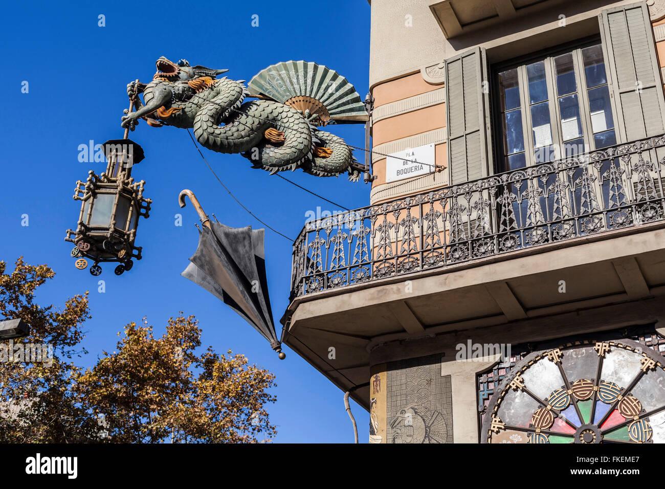 Casa Bruno Cuadros, La Rambla, Barcelona. Stockbild