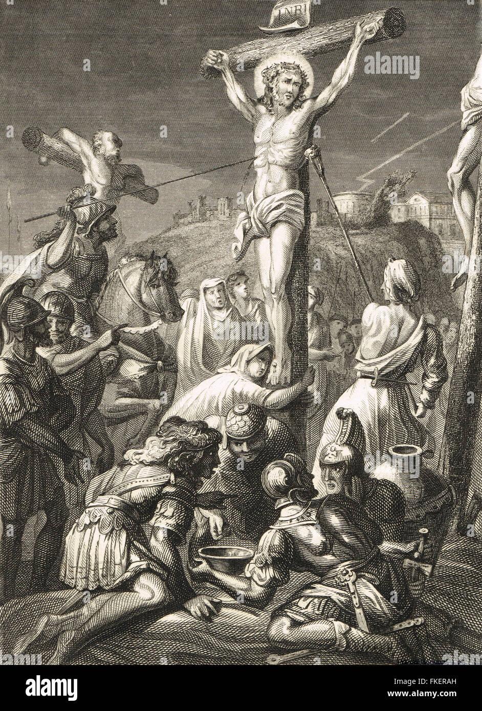 Kreuzigung Christi Gravur von 1839 Stockbild