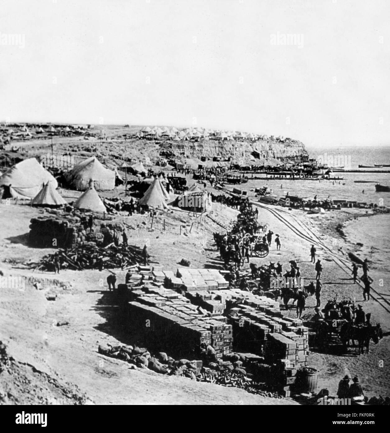 Gallipoli. Weststrand, Gallipoli während der Gallipoli-Kampagne im ersten Weltkrieg. Der Strand war die Website Stockbild