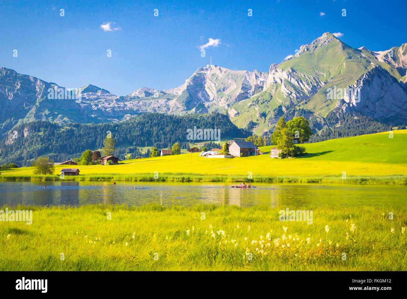 Schwendi-Seen in der Schweiz Toggenburg Stockbild