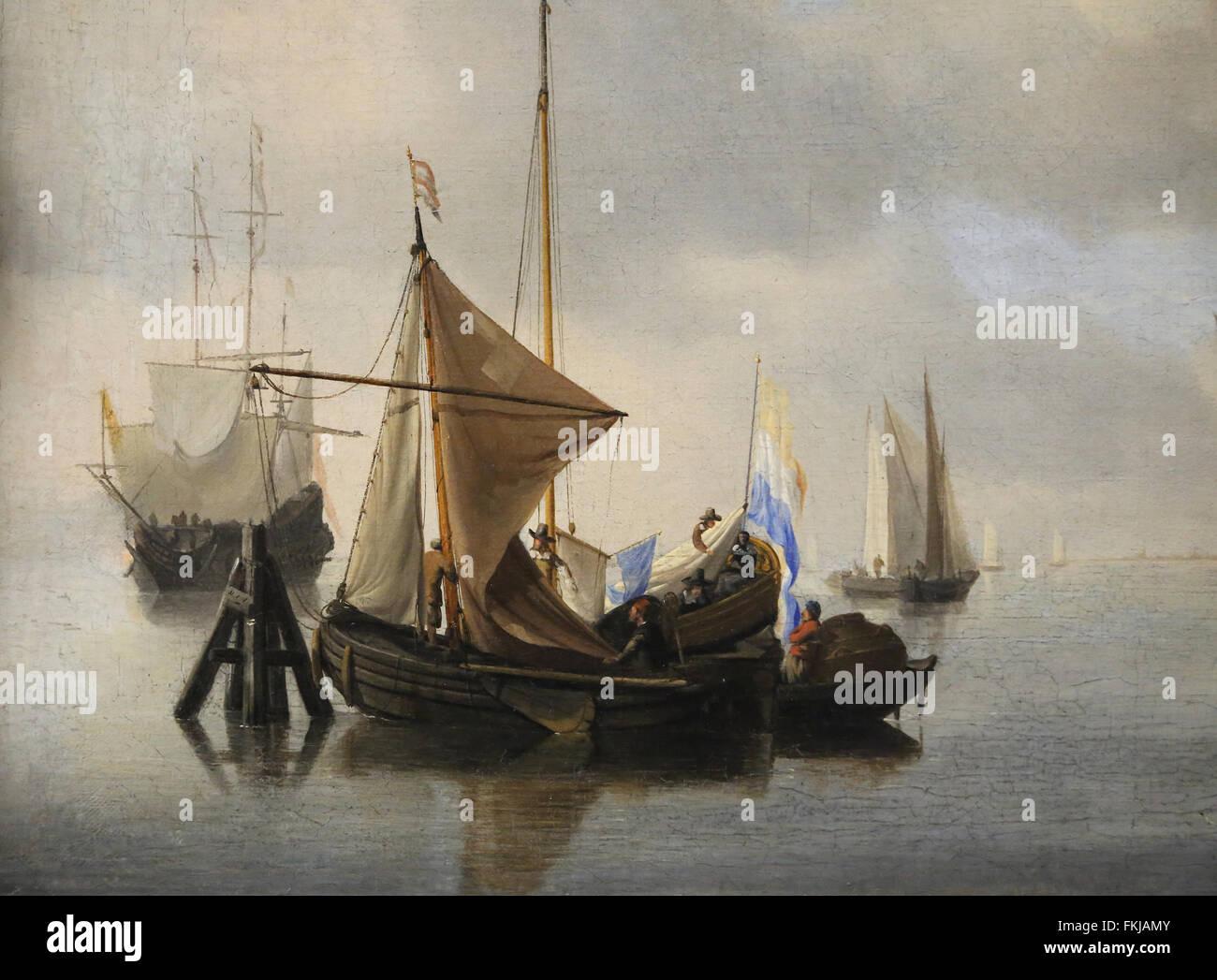 Willem van de Velden der jüngere (1633-1707). Niederländische marine Maler. Marine ruhigem Wetter, 1653. Stockbild