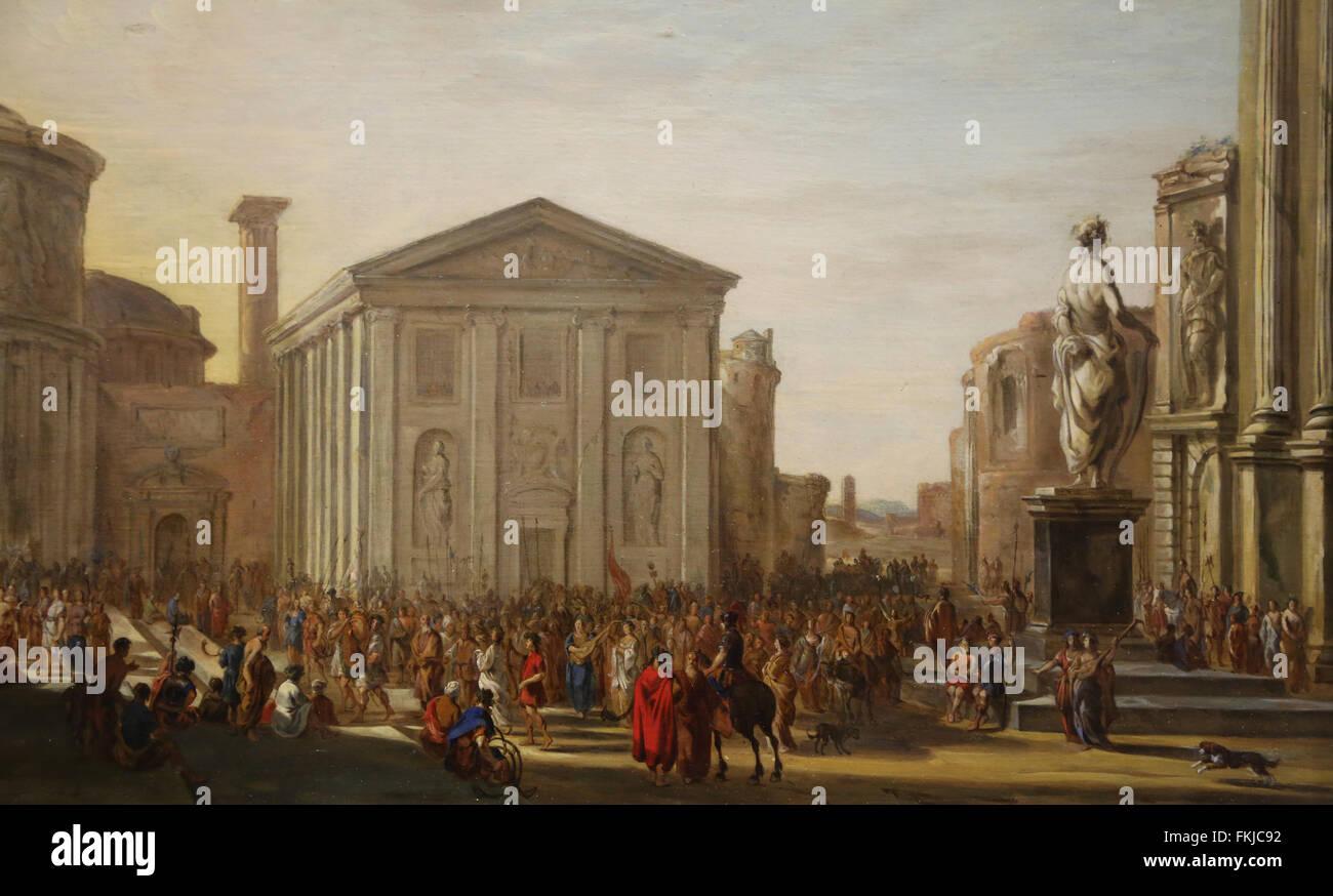 Jacob van der Ulft (1621-1689). Vorbereitungen für einen Triumph in einer antiken Stadt, früher als das Stockbild