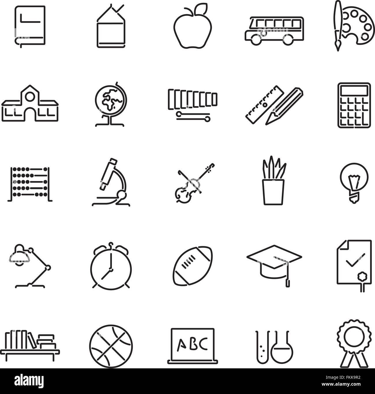 Satz von 25 Bildung, Schule, Hochschule und Universität bezogene Linie Symbole Stockbild