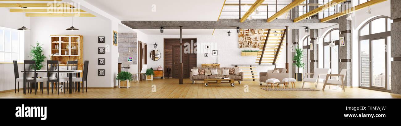 Moderne Loft Apartment Einrichtung Wohnzimmer Diele Esszimmer
