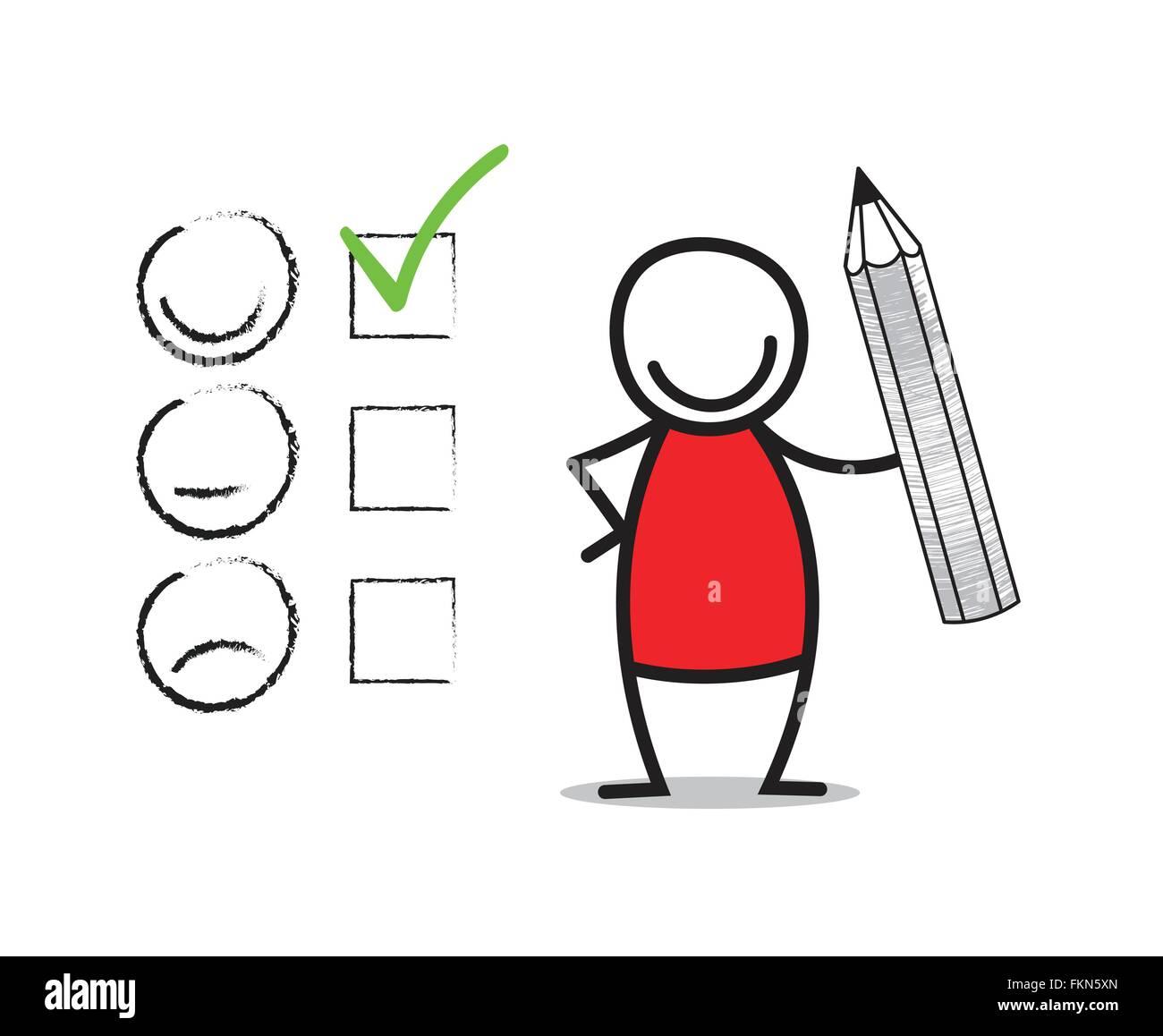 Kunden-Zufriedenheit-Konzept. Doodle-Mann, der einen Bleistift hält. Stockbild