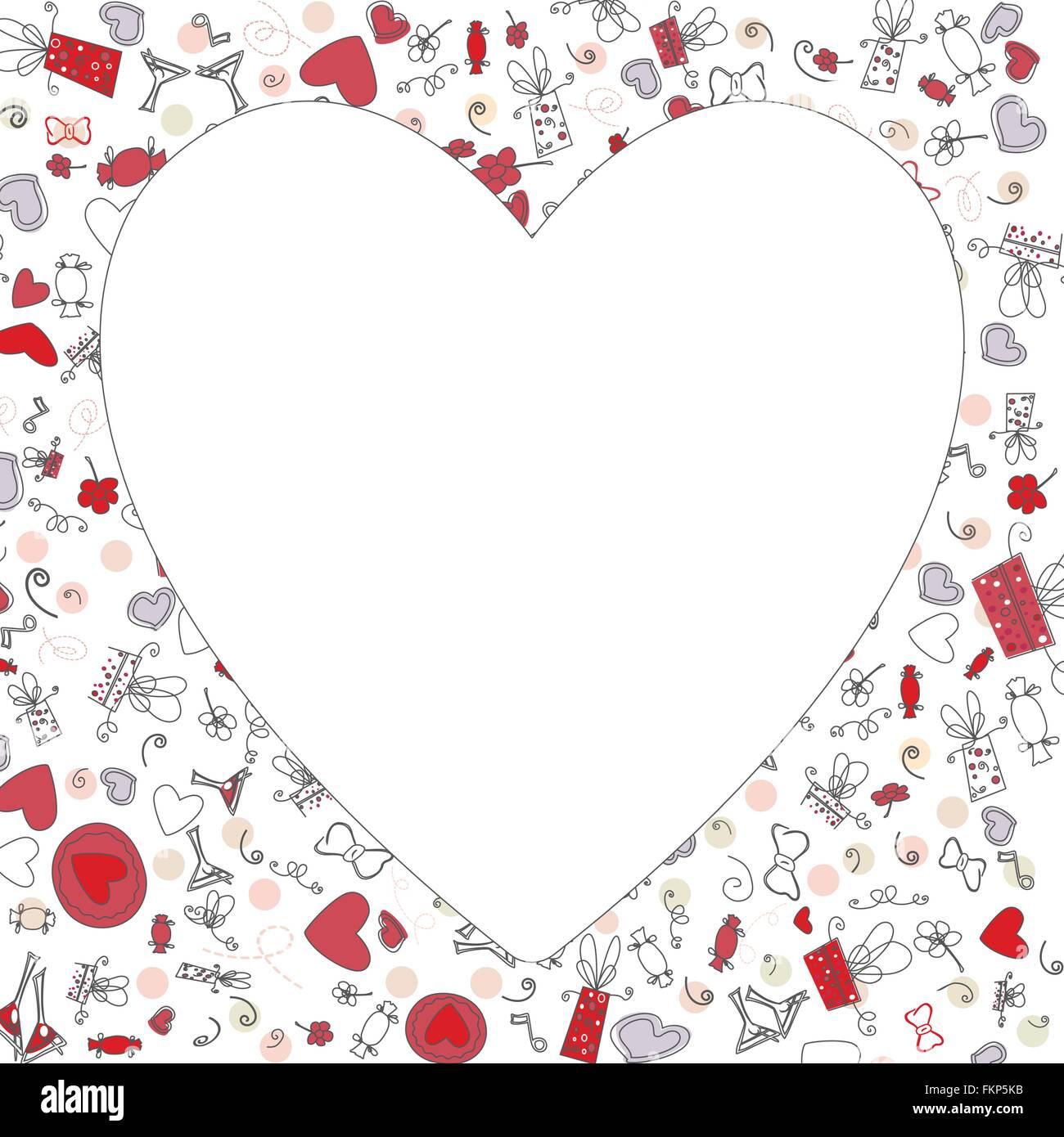 Muster mit Valentine Herzen, Skizze, Zeichnung für Ihr design Vektor ...