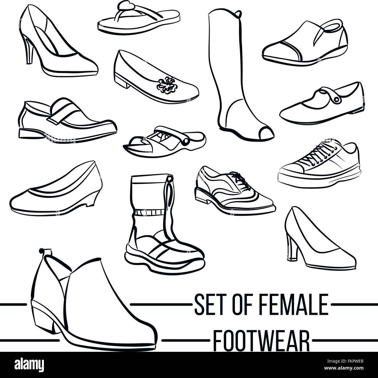 Satz Des Vektors Damen Schuhe Linien Gezeichnet Vektor Abbildung