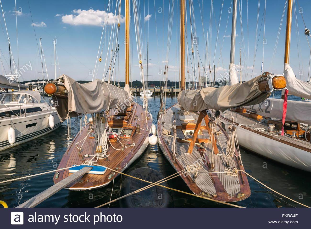 Klassische segelyachten  Klassische Segelyachten bin Kieler Yachtclub Stockfoto, Bild ...