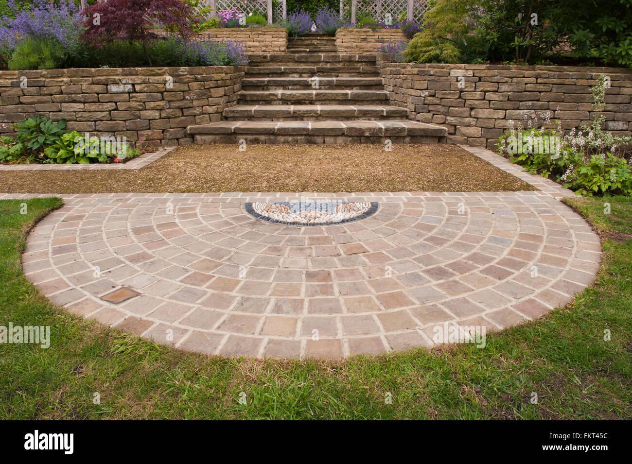 Pebble Mosaik, Pflasterarbeiten, Pflanzen, Schritte, Steinmauer und ...